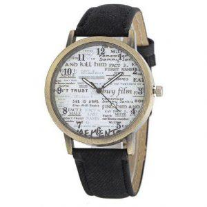 Retro Old Newspaper Pattern Dial Unisex Quartz Watch Black