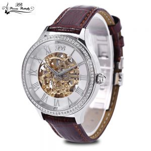 brown This Princess Butterfly Men Auto Mechanical Watch