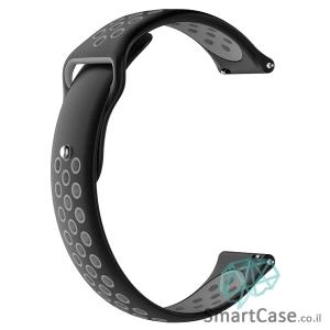 רצועת סיליקון ספורט בצבע שחור אפור לשעוני גלקסי וואווי גרמין הואמי