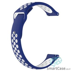 רצועת סיליקון ספורט בצבע כחול לבן לשעוני גלקסי וואווי גרמין הואמי