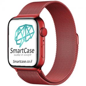 רצועת ברזל מגנט Milanese בצבע אדום עבור אפל ווטש Apple Watch