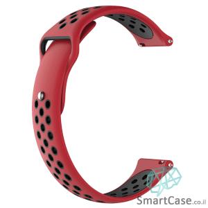 רצועת סיליקון ספורט בצבע אדום שחור לשעוני גלקסי וואווי גרמין הואמי