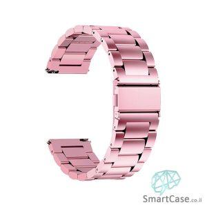 רצועת ברזל חוליות בצבע ורוד לשעוני גלקסי וואווי גרמין הואמי