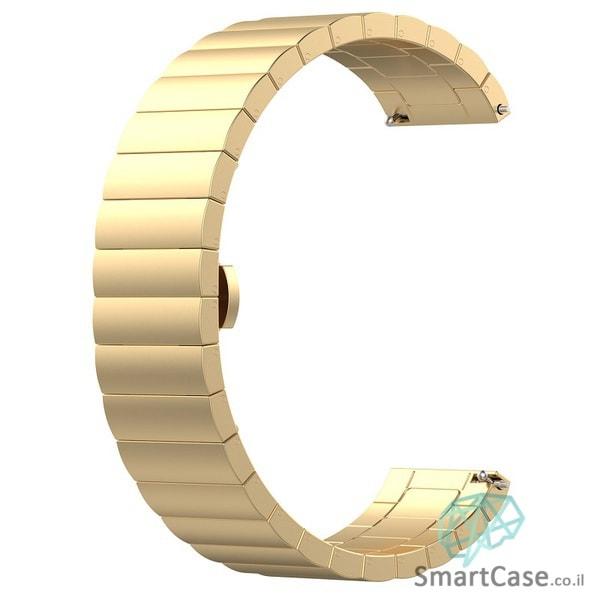 רצועת ברזל פרימיום איכותית בצבע זהב לשעוני גלקסי וואווי גרמין הואמי