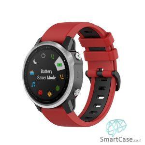 """רצועת סיליקון 26 מ""""מ בצבע אדום שחור לשעוני גרמין פניקס Fenix 6X 5X 6X Pro"""