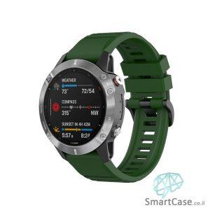 """רצועת סיליקון 26 מ""""מ בצבע ירוק כהה עם אבזם לשעוני גרמין פניקס Fenix 6X 5X 6X Pro"""