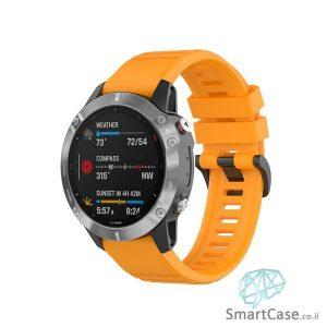 """רצועת סיליקון 26 מ""""מ בצבע כתום עם אבזם לשעוני גרמין פניקס Fenix 6X 5X 6X Pro"""