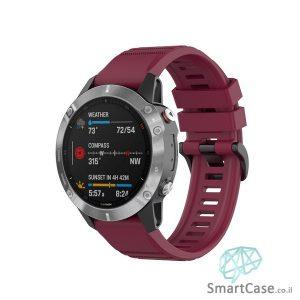 """רצועת סיליקון 26 מ""""מ בצבע בורדו עם אבזם לשעוני גרמין פניקס Fenix 6X 5X 6X Pro"""