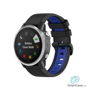 """רצועת סיליקון 26 מ""""מ בצבע שחור כחול לשעוני גרמין פניקס Fenix 6X 5X 6X Pro"""