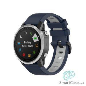 """רצועת סיליקון 26 מ""""מ בצבע כחול אפור לשעוני גרמין פניקס Fenix 6X 5X 6X Pro"""