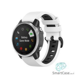"""רצועת סיליקון 26 מ""""מ בצבע לבן שחור לשעוני גרמין פניקס Fenix 6X 5X 6X Pro"""