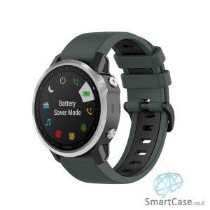 """רצועת סיליקון 26 מ""""מ בצבע ירוק שחור לשעוני גרמין פניקס Fenix 6X 5X 6X Pro"""