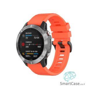 """רצועת סיליקון 26 מ""""מ בצבע אדום עם אבזם לשעוני גרמין פניקס Fenix 6X 5X 6X Pro"""