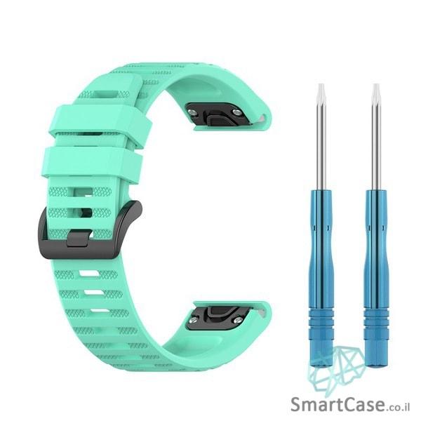 """רצועת סיליקון 26 מ""""מ בצבע ירוק מנטה עם אבזם לשעוני גרמין פניקס Fenix 6X 5X 6X Pro"""