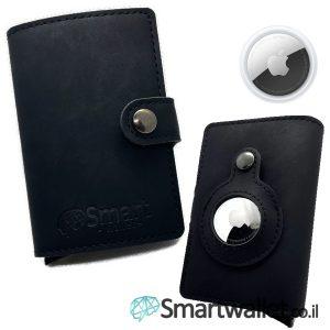 Smartwallet ארנק מעור airtag איירטאג של אפל שחור