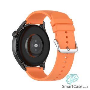 רצועת סיליקון חלקה בצבע Orange אבזם כסוף לשעוני גלקסי וואווי גרמין הואמי