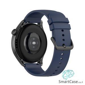 רצועת סיליקון חלקה בצבע Midnight blue אבזם שחור לשעוני גלקסי וואווי גרמין הואמי