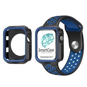 כיסוי היקפי חלקי מסיליקון שני צבעים שחור כחול עבור שעון אפל ווטש 38/40/42/44 Apple Watch