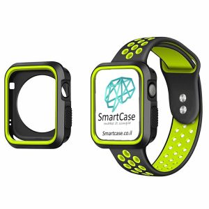 כיסוי היקפי חלקי מסיליקון שני צבעים שחור ירוק עבור שעון אפל ווטש 38/40/42/44 Apple Watch