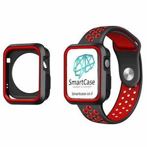כיסוי היקפי חלקי מסיליקון שני צבעים שחור אדום עבור שעון אפל ווטש 38/40/42/44 Apple Watch