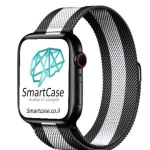 רצועת ברזל מגנט Milanese בצבע שחור לבן עבור אפל ווטש Apple Watch
