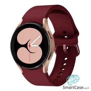 רצועת סיליקון חלקה בצבע Wine Red עם אבזם מעוגל לשעוני גלקסי ווטש 4